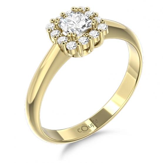 Couple, Elegantní prsten Clara, žluté zlato se zirkony