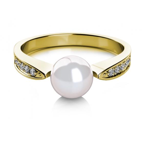 Elegantní prsten Julia, žluté zlato s perlou a zirkony