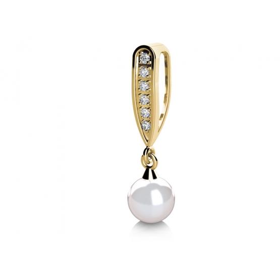 Elegantní přívěsek Julia, žluté zlato s perlou a zirkony