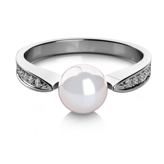 Elegantní prsten Julia, bílé zlato s perlou a zirkony