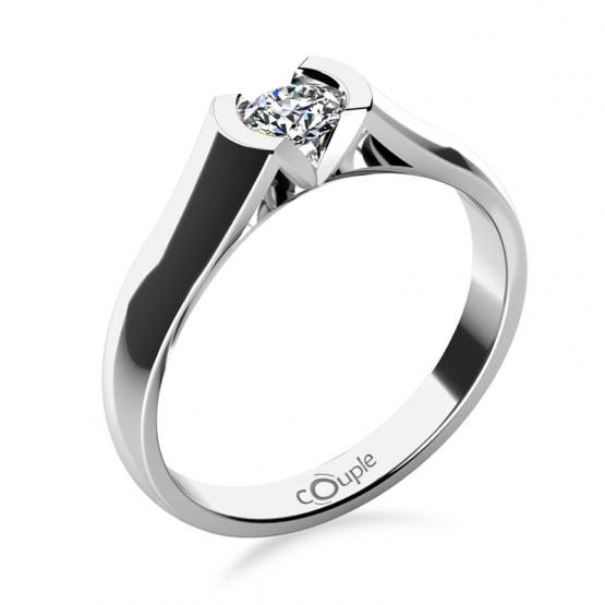 Zásnubní prsten Paige, bílé zlato s briliantem