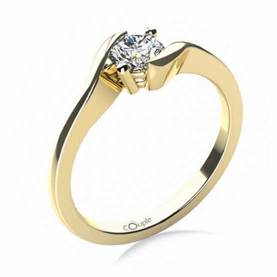 Zásnubní prsten Tanya, žluté zlato se zirkonem