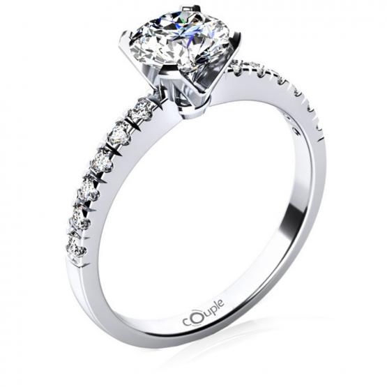 Luxusní zásnubní prsten Sally, bílé zlato se zirkony
