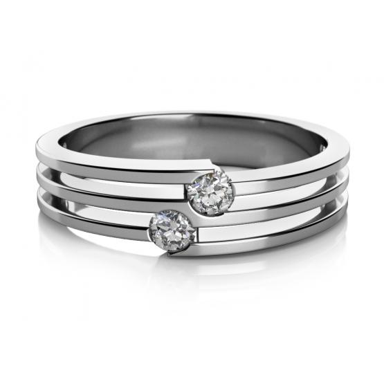 Zajímavý prsten Asu z bílého zlata se zirkony