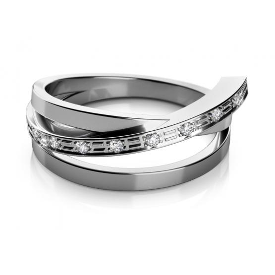 Couple, Originální prsten Kaylee z bílého zlata se zirkony