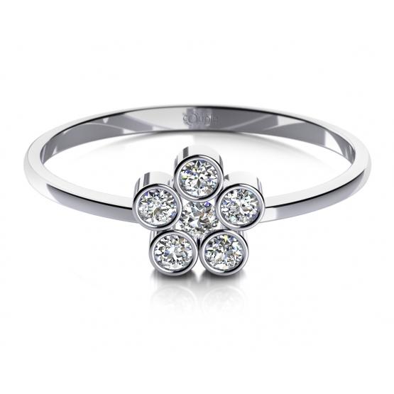 Decentní prstenMadeline z bílého zlata a zirkonů
