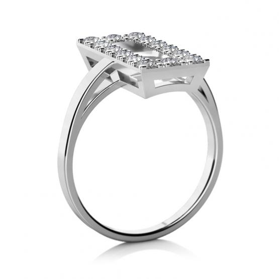 Třpytivý prsten Ziva, bílé zlato a zirkony