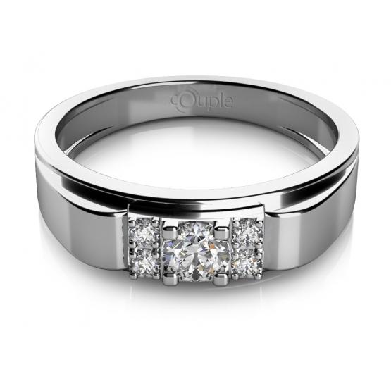 Módní prsten Tiria v bílém zlatě se zirkony