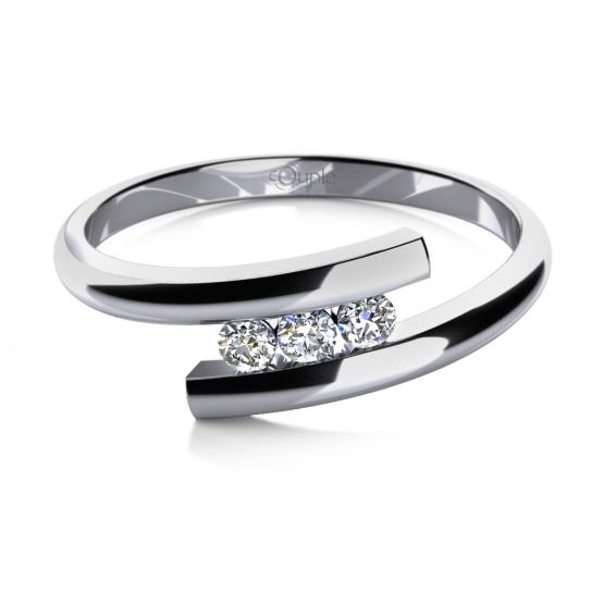 Módní prsten Vera v bílém zlatě se zirkony