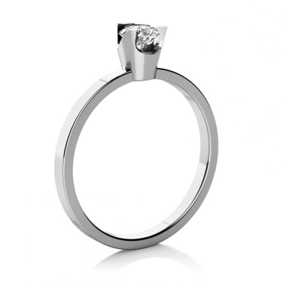 Zajímavý zásnubní prsten Regina v bílém zlatě se zirkonem