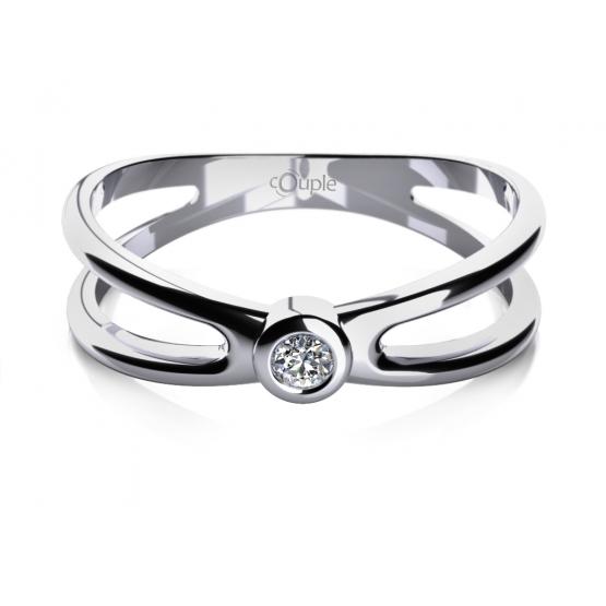 Abstraktní zásnubní prsten Seline v bílém zlatě