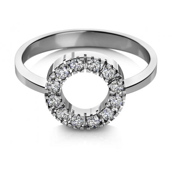 Zásnubní prsten Sarah v bílém zlatě se zirkony