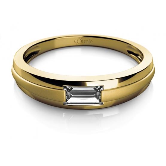 Couple, Decentní prsten Oliv, žluté zlato se zirkonem