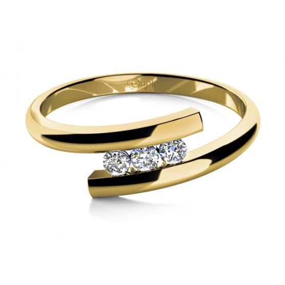 Couple, Módní prsten Vera ve žlutém zlatě se zirkony