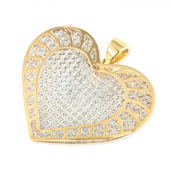 Zajímavý přívěsek Srdce ze žlutého a bílého zlata