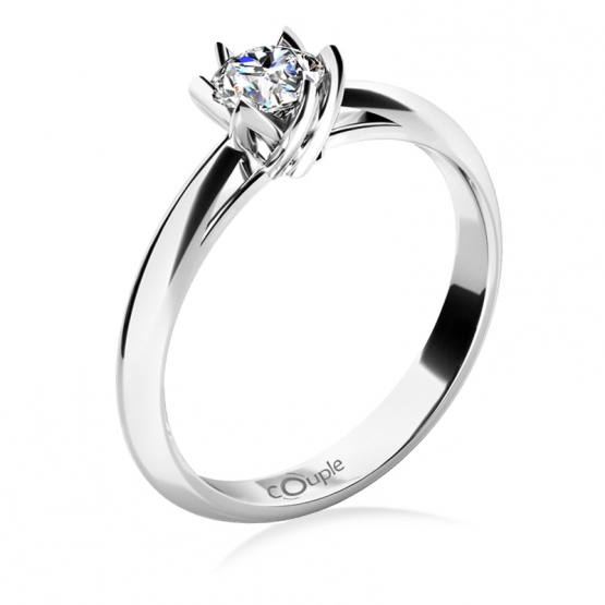 Zásnubní prsten Lucille, bílé zlato se zirkonem