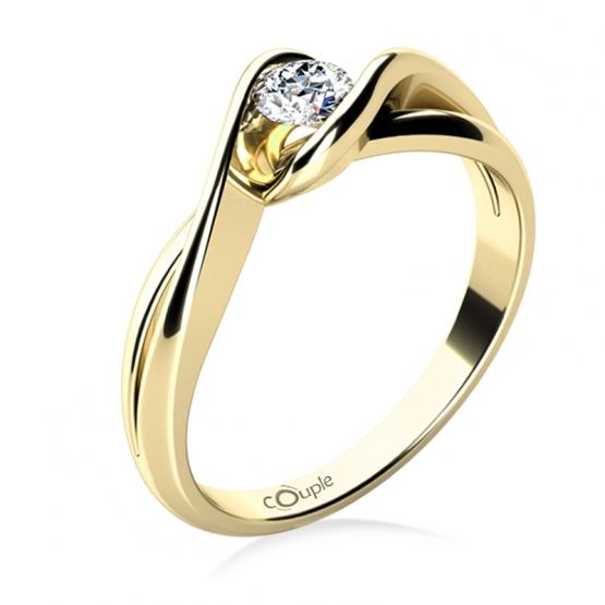 Působivý zásnubní prsten Annie, žluté zlato a zirkon