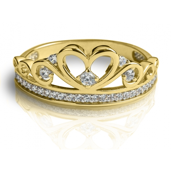 Zajímavý prsten Delphine, žluté zlato se zirkony