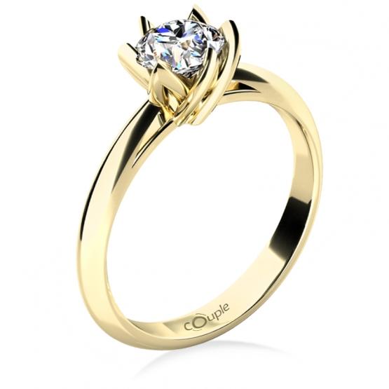 Zásnubní prsten Lucille, žluté zlato s velkým zirkonem