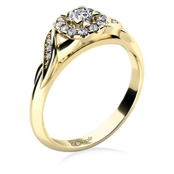 Zásnubní prsten Olympia, žluté zlato se zirkony