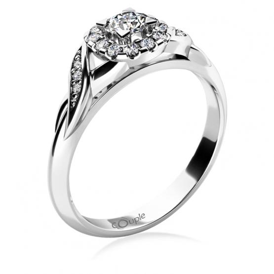 Zásnubní prsten Olympia, bílé zlato se zirkony