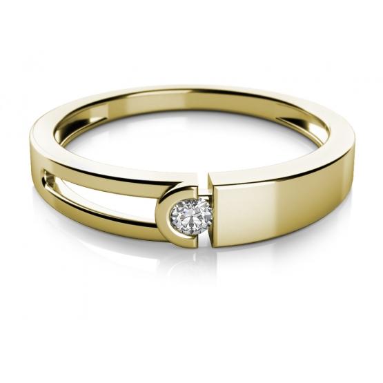 Zajímavý prsten Anes, žluté zlato a zirkon
