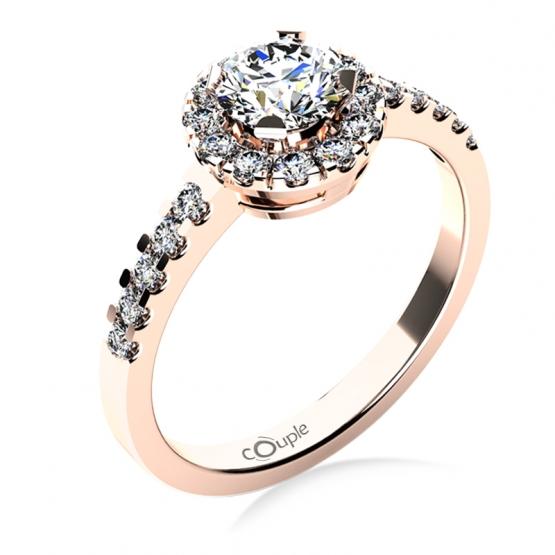 Výrazný zásnubní prsten Bella v růžovém zlatě se zirkony