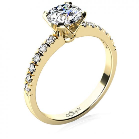 Luxusní zásnubní prsten Sally, žluté zlato se zirkony