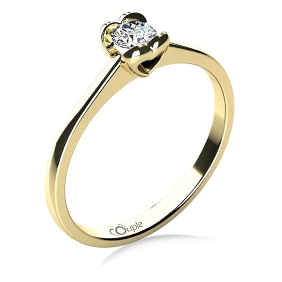 Couple, Sophia – Zásnubní prsten ze žlutého zlata s briliantem