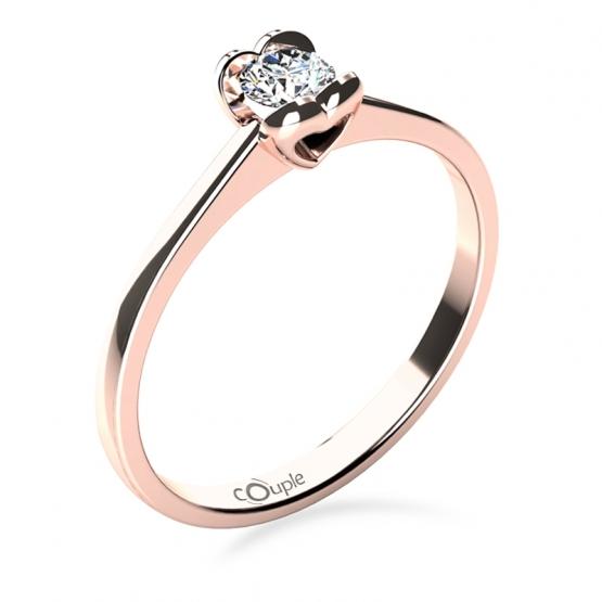 Sophia – Zásnubní prsten z růžového zlata s briliantem