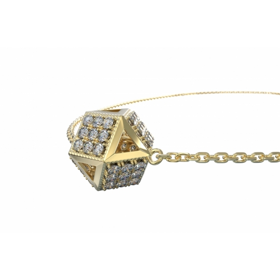 Couple, Originální náhrdelník Kostka, žluté zlato se zirkony