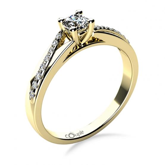 Luxusní zásnubní prsten Beatrice, žluté zlato a brilianty