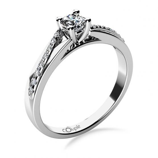 Luxusní zásnubní prsten Beatrice, bílé zlato a brilianty