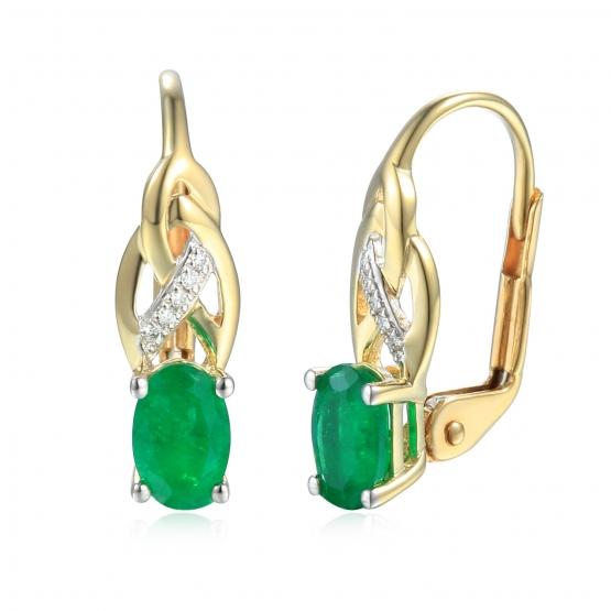 Gems, Originální náušnice Scarlet, žluté zlato s brilianty a smaragdy