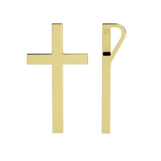 Minimalistický přívěsek ve tvaru kříže, žluté zlato
