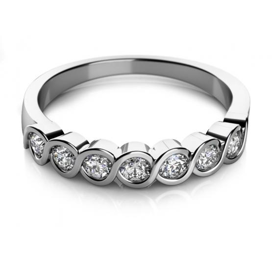 Jemný prsten Kim v bílém zlatě se zirkony
