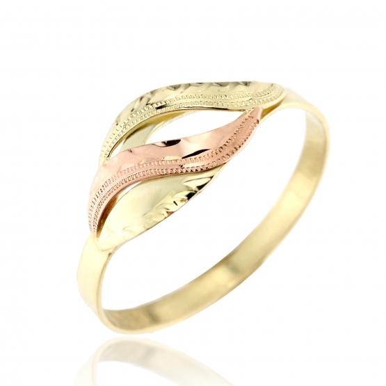 Zajímavý prsten Anna – kombinované zlato