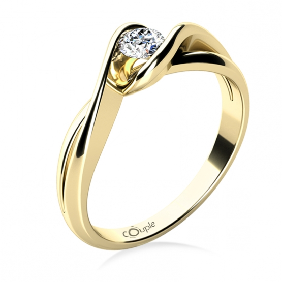 Působivý zásnubní prsten Annie, žluté zlato a briliant