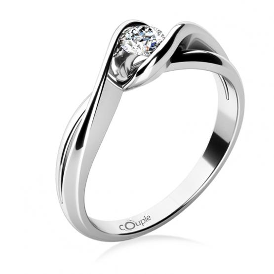Působivý zásnubní prsten Annie, bílé zlato a briliant
