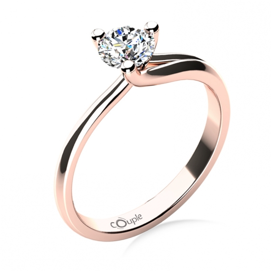 Okouzlující zásnubní prsten Mai, růžové zlato a velký briliant