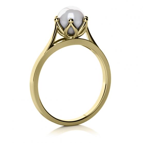 Okouzlující prsten Coralia, žluté zlato s perlou