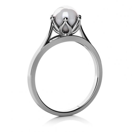 Okouzlující prsten Coralia, bílé zlato s perlou