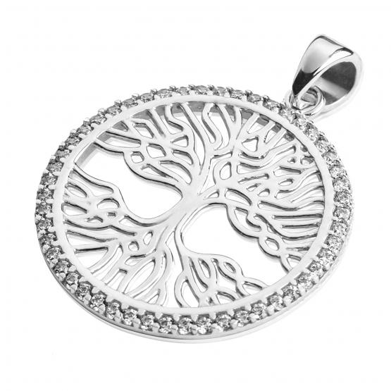 Přívěsek Tree of Life, bílé zlato a zirkony