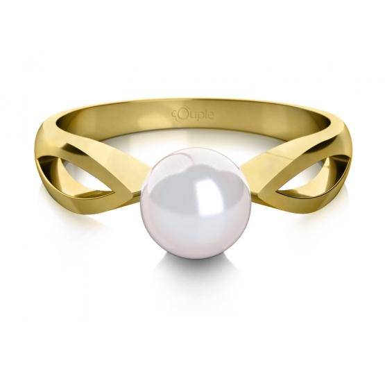 Couple, Půvabný prsten Taisa, žluté zlato a perla