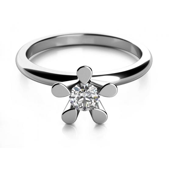 Zásnubní prsten Flower II, bílé zlato s briliantem