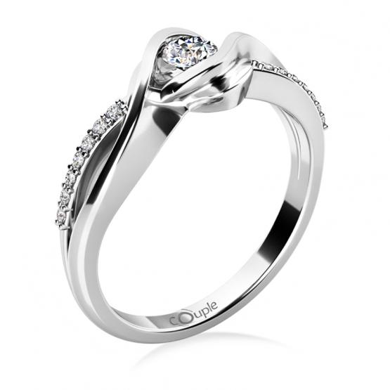 Couple, Luxusní zásnubní prsten Moniq, bílé zlato a brilianty