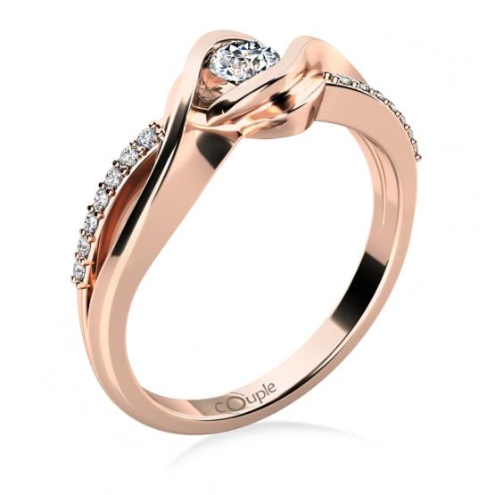 Couple, Luxusní zásnubní prsten Moniq, růžové zlato a zirkony