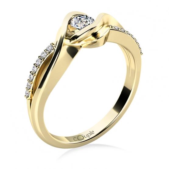 Luxusní zásnubní prsten Moniq, žluté zlato a brilianty