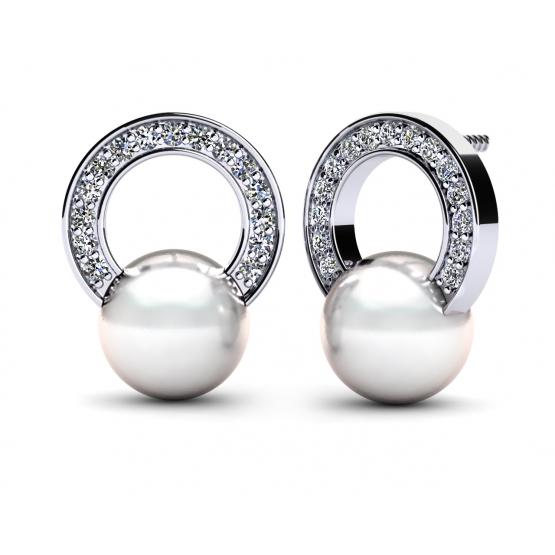 Elegantní perlové náušnice Fency v bílém zlatě se zirkony