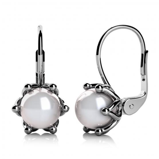 Couple, Okouzlující náušnice Coralia, bílé zlato a perly